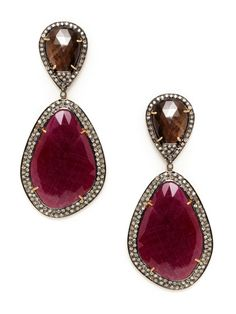 Brown Sapphire Teardrop & Ruby Freeform Drop Earrings by Amrapali on Gilt.com