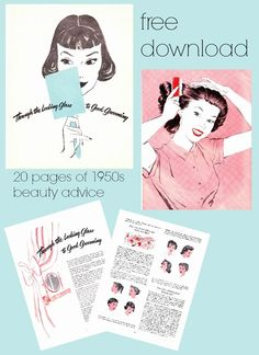 """free download 1950s beauty booklet """"Through the Looking Glass to GOod Grooming via Va-Voom Vintage"""