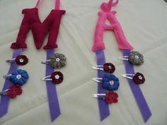 Monogram Felt and Ribbon Hairclip Hangers - The Supermums Craft Fair