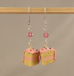 These would have been fun to wear today (my birthday) :) ... Pink Birthday Cake Earrings by miniholiday on Etsy
