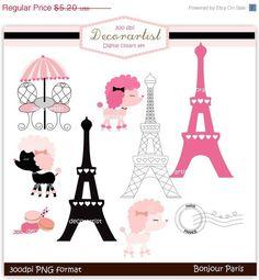 LE caniche Français de vente numérique clip art., bonjour Paris, français style, clipart paris, INSTANT Download