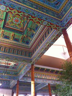 Boulder Dushanbe Teahouse -    The teahouse ceiling was originally built, carved and painted in Tajikistan. Absolutely no power tools were used in the original construction. The work was crafted by hand exactly as it was centuries ago.