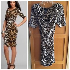 INC Animal Leopard-Print Sheath Dress Wore once for my birthday (2009). Really beautiful dress and very sexy. You can wear this as an off the shoulder dress or deep low cut dress. INC International Concepts Dresses