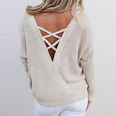 Backless lace up sweater. Loose fit. In winter white af8275feb