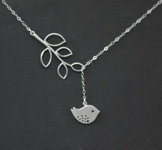 Bird Necklace  Leaf Necklace Bird Charm  by DanglingJewelry, $28.00