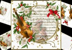 8x8 winter melody silent night mini kit on Craftsuprint designed by Carol Smith - a mini kit for Christmas which has a music sheet Silent night framed and decorated with a beautiful winter flower trimmed violin has a faded picture of the Madonna and child embedded into the music sheet.co-ordinating tags say merry Christmas in English, Spanish, French and Swedish, happy holidays, and Christmas blessings also a blank tag for the greeting of your choiceKit contains main topper, decoupage ...