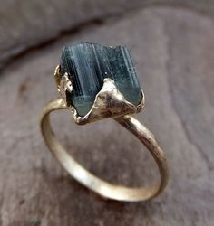 Raw Blue Tourmaline Ring Rough Recycled Sterling by byAngeline