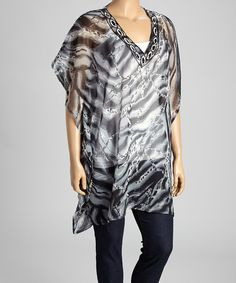 Look at this #zulilyfind! Black & Silver Sheer Cape-Sleeve Tunic - Plus by Life and Style Fashions #zulilyfinds