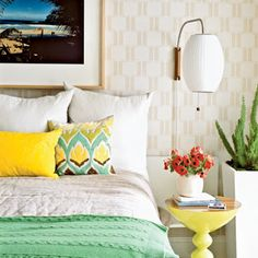 BEDROOM - retro sconce + colour combo + stool as bedside table