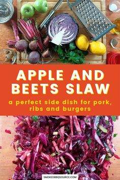 Make this crisp and fresh apple and beets slaw during your next BBQ and it will become a perfect side dish for your pork, ribs or burgers. Bbq Recipes Sides, Best Bbq Recipes, Slaw Recipes, Grilling Recipes, Cabbage Recipes, Bbq Appetizers, Appetizer Salads, Appetizer Recipes, Barbecue Sides
