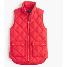 J.Crew Petite Excursion Quilted Down Vest ($130) ❤ liked on Polyvore featuring outerwear, vests, jackets, tops/outerwear, petite, zip vest, slim vest, quilted zip vest, quilted vest and lightweight quilted vest