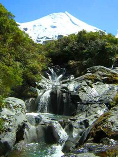 Wilkies Pools, Mount Taranaki, North Island, New Zealand.  A beautiful place where the water cascades down a series of pools carved out of the volcanic basalt.