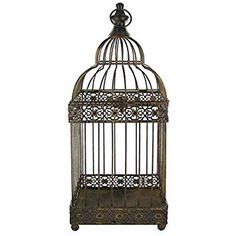 Brown Rustic Metal Bird Cage >>> Want additional info? Click on the image. (This is an affiliate link) #HomeDecorWallSculptures