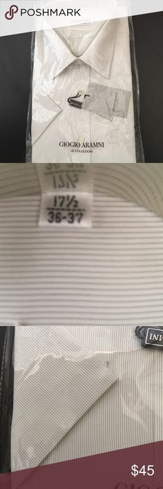 Men Giorgio Armani Dress Shirt Short Sleeve, mini pinstripes. Front pocket with Aramni name engraved. Giorgio Armani Shirts Dress Shirts