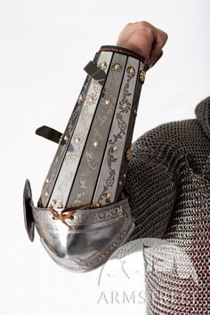 Medieval SCA armor bracers splinted with elbow cops and etching on it for sale