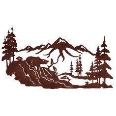 rustic metal art decor | Fishing Bear 42'' Metal Wall Art at Rocky Mountain Cabin Decor