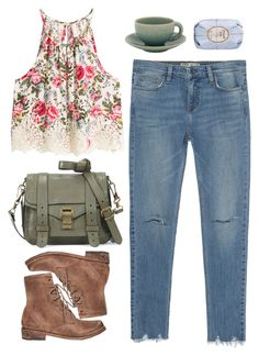 Untitled #1281 by timeak on Polyvore featuring polyvore fashion style H&M Zara Freebird Proenza Schouler Fresh Jars