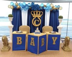 70 best Ideas for baby shower girl theme princess backdrops Royal Baby Shower Theme, Royalty Baby Shower, Baby Shower Backdrop, Baby Girl Shower Themes, Baby Shower Princess, Baby Boy Shower, Baby Boy Decorations, Balloon Decorations, Gold Baby Showers