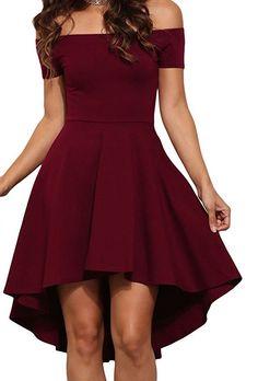 Sisiyer Women's Off Shoulder Short Sleeve Ruched Mini All The Rage Skater Dress Burgundy Medium $17.70 - $22.99