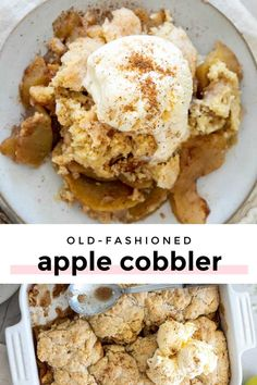 *NEW* This old fashion apple cobbler with fresh apples is filled with tender, juicy apples and topped with a to-die-for, fluffy cake-like topping. It's the perfect fall dessert. #applerecipes #cobblerrecipes #dessertrecipes