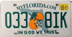 Florida MyFlorida.com In God We Trust License Plate green numbers on white with Twin Oranges