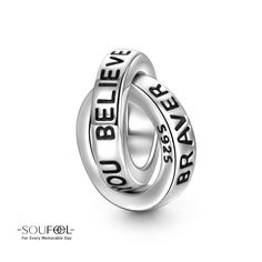 You are Braver Than You Believe Charm. Compatible All Brands Basic Bracelet. For Every Memorable Day