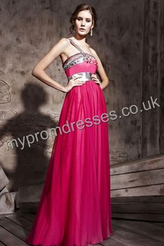 Floor Length One-shoulder Red Chiffon A-line Evening Dress  http://www.mypromdresses.co.uk