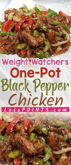 We love easy dinner recipes that are ready in less than 30 minutes! This One–Pot Black Pepper Chicken is not only simple to make, but it's healthy too. INGREDIENTS pounds boneless, skinless chicken breasts, cut into red bell pepper, seeded dinner for 1 Ww Recipes, Easy Dinner Recipes, Asian Recipes, Cooking Recipes, Healthy Recipes, Easy Dinners, Lasagna Recipes, Recipies, Weight Watchers Diet