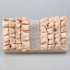 Champagne Ruffled Satin Oblong Evening Clutch with Rhinestone