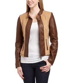 OLIVIA MILLER Camel & Brown Color Block Faux Leather Zip-Up Jacket by OLIVIA MILLER #zulily #zulilyfinds
