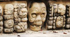 A skull lurking among the glyphs at the Maya site of Copan, Honduras Historical Artifacts, Ancient Artifacts, Mayan Glyphs, Mayan Symbols, Maya Architecture, Mayan Cities, Aztec Art, Ancient Mysteries, Mayan Ruins
