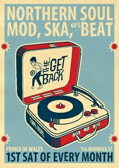 Northern Soul Mod, Ska and Beat - illustrator: Jaymokid  This art is indicative of the typical style of the traditional ska movement: modern pop-art with an image of a person dancing. The ska movement in music was about having fun, dancing, drinking, and partying for the most part.