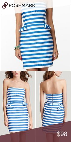 34f917a0246d Lilly Pulitzer Strapless Blue White Stripe Dress 2 Hello Summer! New  without tags Lilly Pulitzer