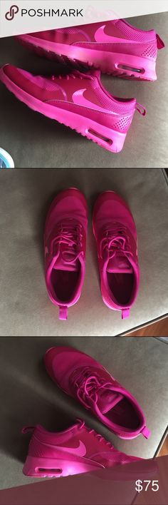 Nike Air Max Thea Nike air maxes solid print bright pink very cute! Lightly warn. Nike Shoes Sneakers