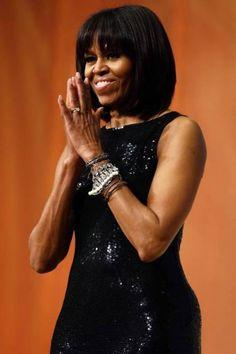 Michelle Obama com vestido Michael Kors brilha em posse de Barack Obama