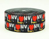 7/8'' -  22 mm I love New York Grosgrain Ribbon w/cab
