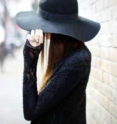 Lace & a black hat.