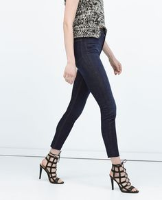 Image 1 of HIGH WAISTED DENIM JEANS from Zara