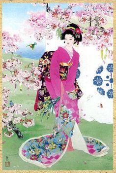 i love geisha prints like these Art Geisha, Geisha Kunst, Japanese Painting, Chinese Painting, Chinese Art, Japan Kultur, Asian Artwork, Art Chinois, Art Asiatique