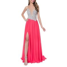Glamour By Terani Couture Embroidered Illusion Gown ($193) ❤ liked on Polyvore featuring dresses, gowns, coral, sleeveless gown, embroidered evening dress, beaded dress, embroidered gown and pink sleeveless dress