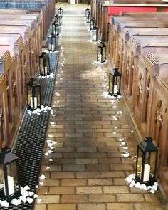 We finished this church with black lanterns & white rose petals. Wedding Events, Wedding Ceremony, Black Lantern, Rose Petals, White Roses, Lanterns, Sidewalk, Chair, Decor