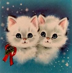 Vintage Xmas Card 2 White Pink Ears Kittens Red Christmas Bow Collar NORCROSS