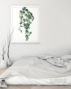 Ivy Watercolour Painting Botanical Leaves Drawing. Minimalist Abstract Green Wall Decoration. Living Room Decor Giclee Fine Art Print. Plant Poster Plants Illustration Minimalist Leaf Home Decor. In the first Picture the Ivy plant is printed on off-white canvas: Width: 23 - 84cm