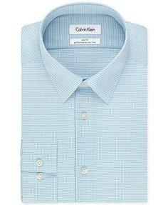 Calvin Klein STEEL Non-Iron Slim-Fit Blue Multi Check Performance Dress Shirt