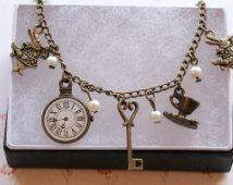 Alice in Wonderland bracelet, charm bracelet, Alice in Wonderland, pocket watch bracelet, steampunk bracelet, Alice in Wonderland jewelry