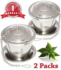 Loose Leaf Tea Infuser Set of 2 with Drip Trays One Year Warranty Food Grade 304 Stainless Steel Strainer  Steeper for a Superior Brewing Experience Tea Herb Spice Filter for Cup Mug and Teapot ** Learn more by visiting the image link.