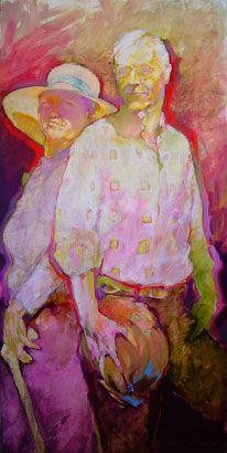 "Portrait of Gary & Kathryn Rickert by Tom Jensen, 48"" x 24"" (2006)"