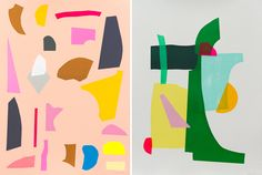 Screenprints by Kirra Jamison from the Total Control series. Left - Ghoul, 2012 hand pulled silkscreen print on 640gsm paper, 76 x 56 cm, 21 screens, edition of 9.  Right - Callow, 2012 hand pulled silkscreen print