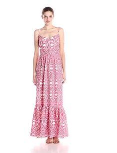 Betsey Johnson Women's Printed Maxi Dress, Coral, 2