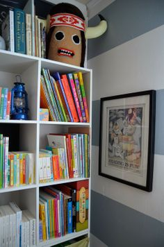 Shared kids room - Bookcase styling by Meg Padgett from Revamp Homegoods www.revamphomegoods.com